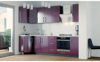 Кухня угловая, глянец Фиолет