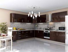 Кухня угловая Бостон, коричневый глянец